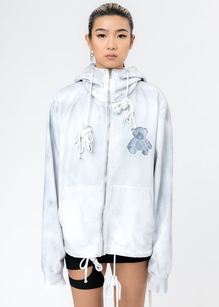 we11done Pearl Necklace Teddy Reflect Zip-Up Hoodie - White