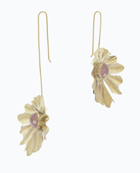 Ulla Johnson Beatriz Asymmetric Drop Flower Earrings - Rose
