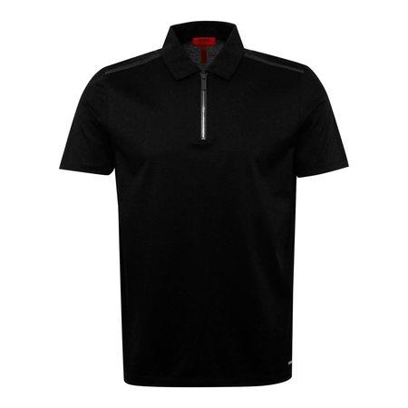 Hugo Boss Dilvio Mercerised Cotton Zip Polo - Black