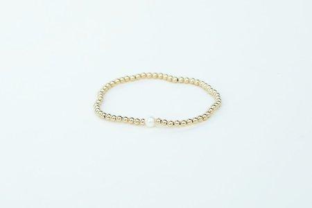 Karen Lazar 3mm YG Bracelet with Single White Pearl