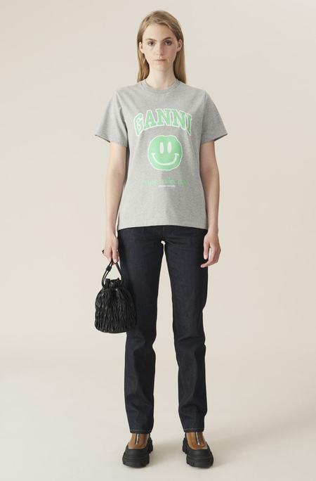 Ganni Basic Cotton Jersey T-Shirt - Paloma Melange