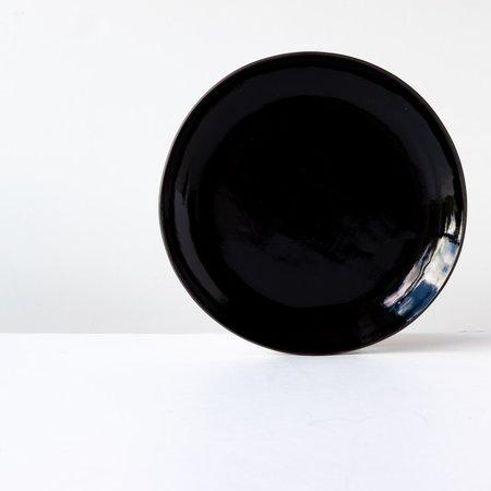 Lola Cera Large Plate - Black Lacquered Stoneware