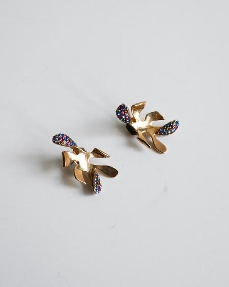 [Pre-loved] Sarah Magid Swarovski Petal Earrings - Gold