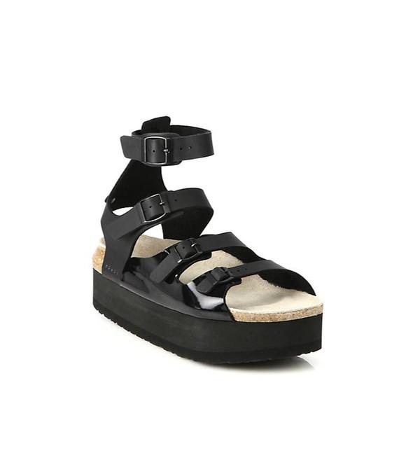 Sacai Luck Black Leather Multi-Strap Platform Sandals