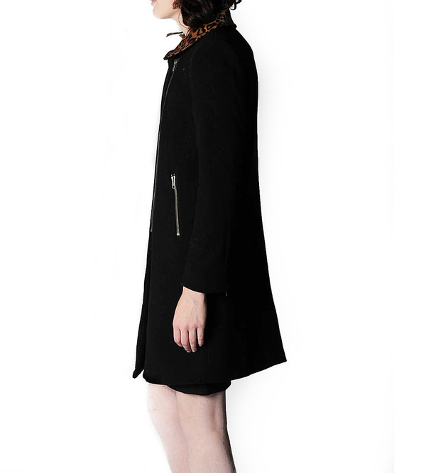 Mason By Michelle Mason Black Moto Coat with Pony Hair Lapel