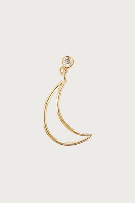 Xiao Wang Dot Dot Single Stud Dangle Hand Drawn Moon Earring