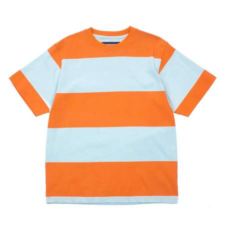 Noon Goons BIG STRIPE T-SHIRT - ORANGE/BABY BLUE