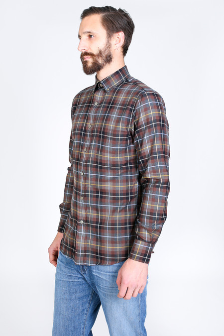 Vert & Vogue James Button-Up in Brown Plaid