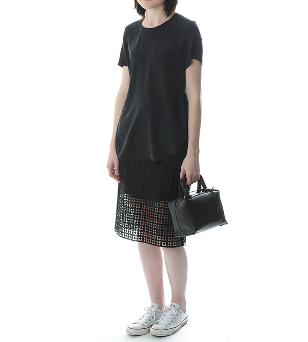 3.1 Phillip Lim Black T-Shirt with Overlapped Side Seams