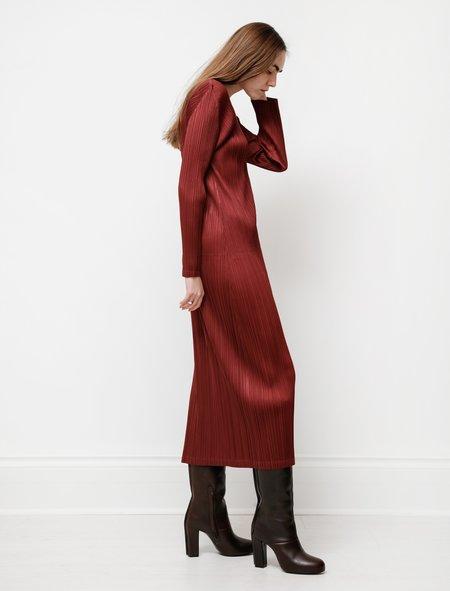 Pleats Please by Issey Miyake Long Sleeve V-Neck Dress - Bordeaux