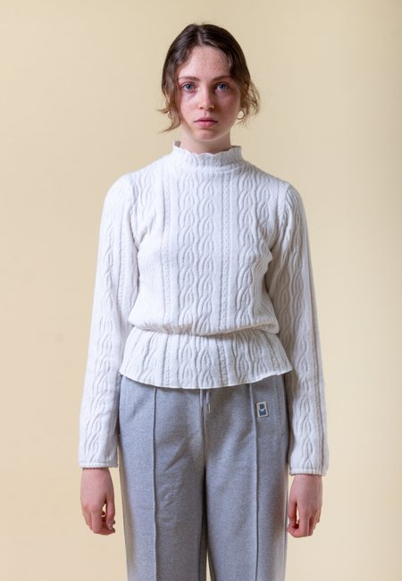 DAMSON MADDER Cable Knit Frill Top - cream