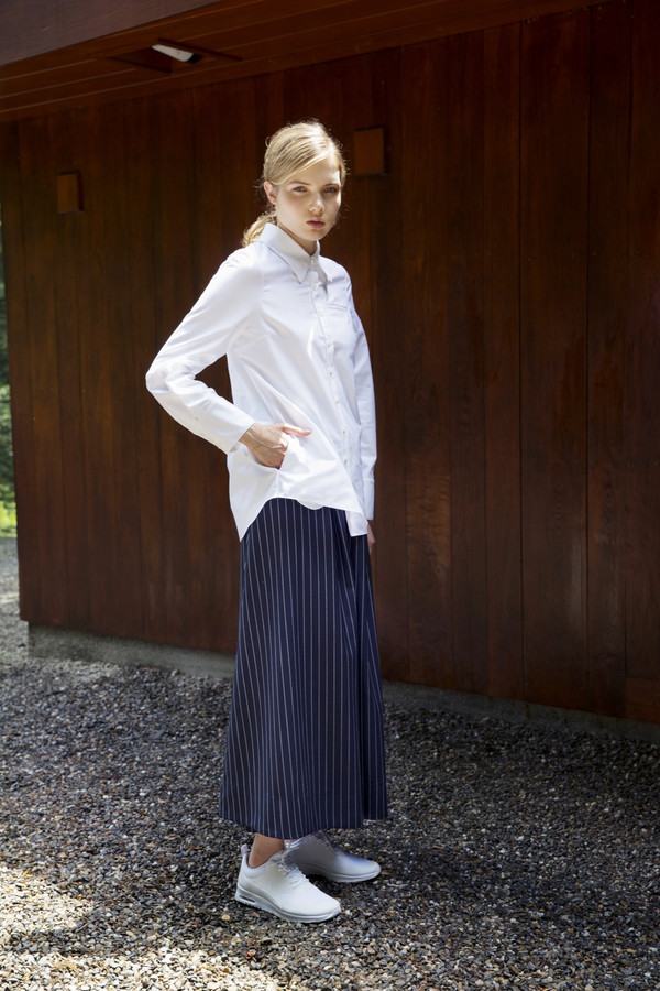 UNIFORME Caro Cropped Palazzo Pants - Holland & Sherry Crispaire, Navy Stripe