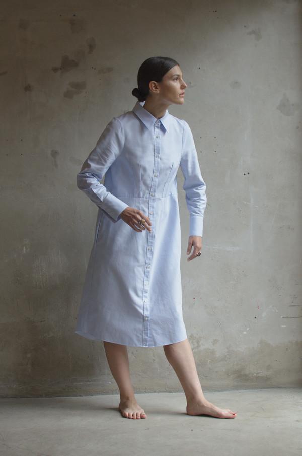 UNIFORME Lin Shirt Dress (Azure Blue)
