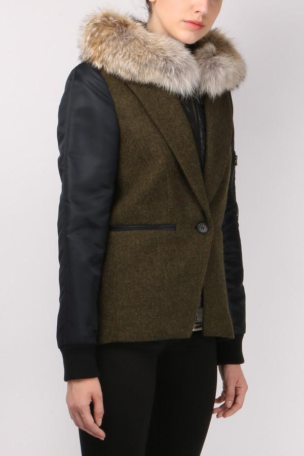 Veronica Beard Puffer Hoodie Dickey w/ Fur