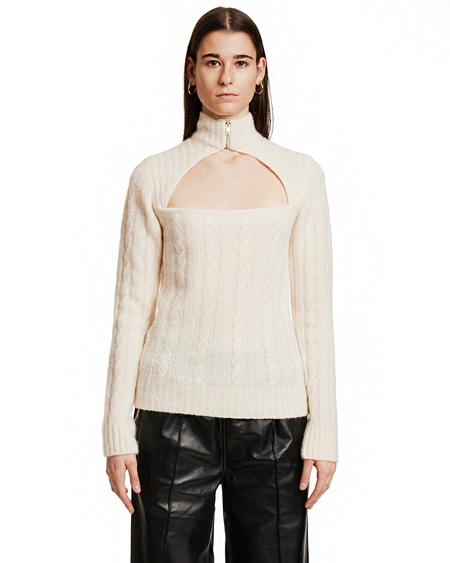 GANNI Alpaca Knit Blouse - White