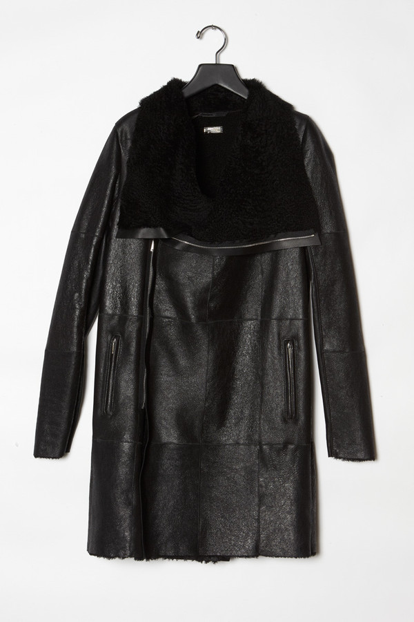 Anne Vest  Long Crackled  Reversible Shearling