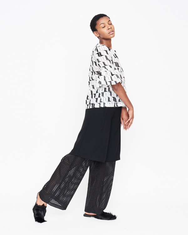 William Okpo EMBROIDERED MARIA RUFFLE TOP