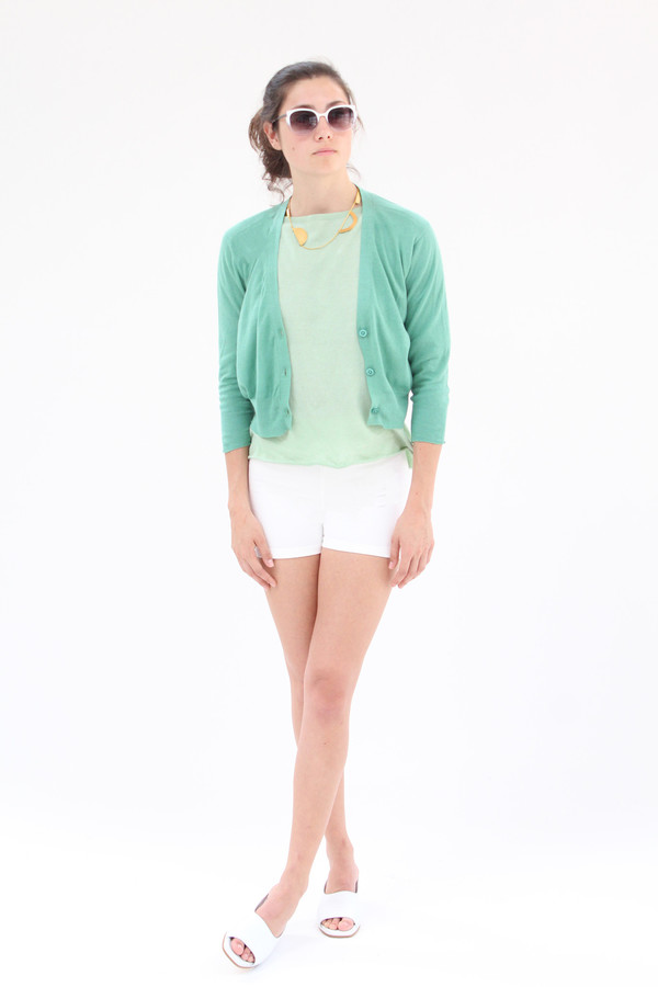 Lina Rennell 3/4 Cotton Knit Cardigan Jade