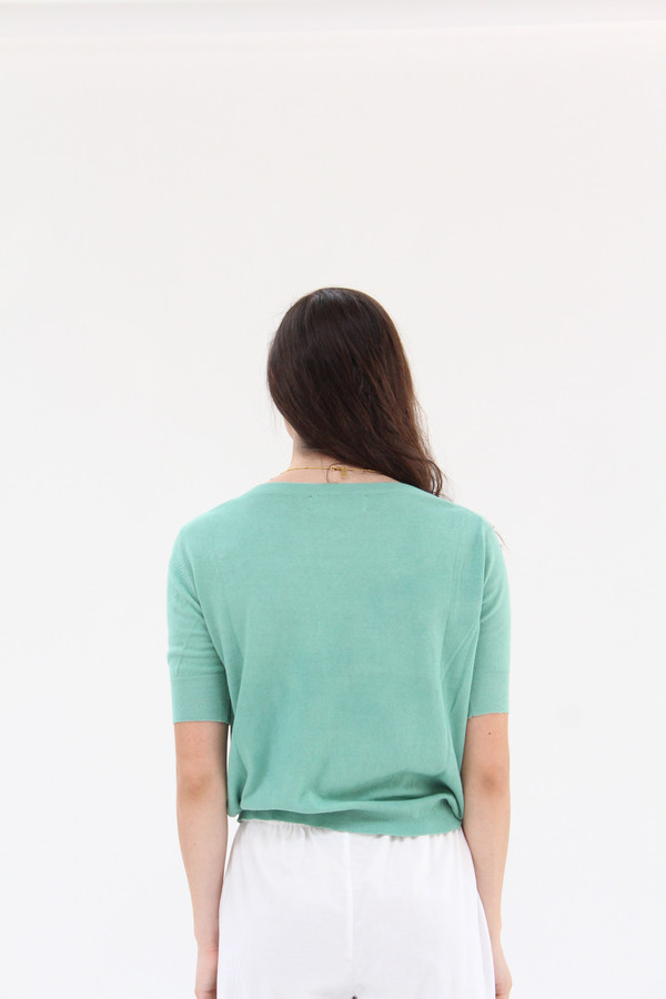 Beklina Cotton Knit Top Jade