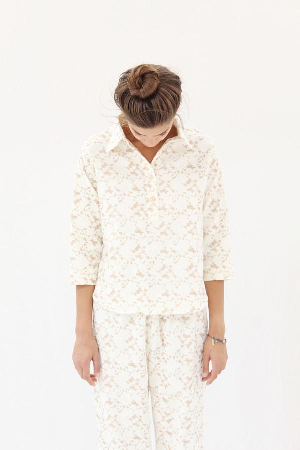 Beklina Organic Cotton Flannel Pajama Set / Brown Lace