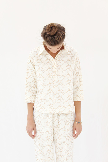 Beklina Organic Cotton Flannel Pajama Set / Brown Lace