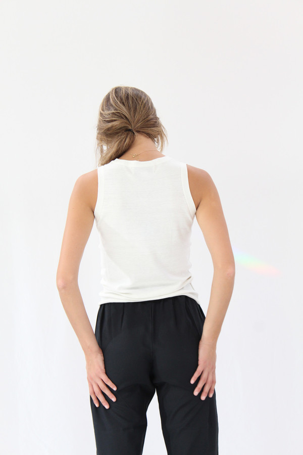 Beklina Tank Cotton / Silk Knit White