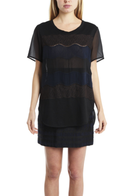 3.1 Phillip Lim Curved Hem Tee Shirt with Lace Applique - Black/Navy