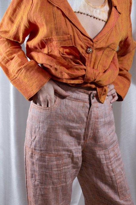 Kahle ARCHIVE LINEN UTILITY PANT - Orange