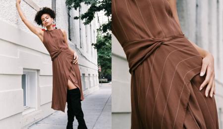 Grieve Lisboa Wool Crepe Dress - Brown