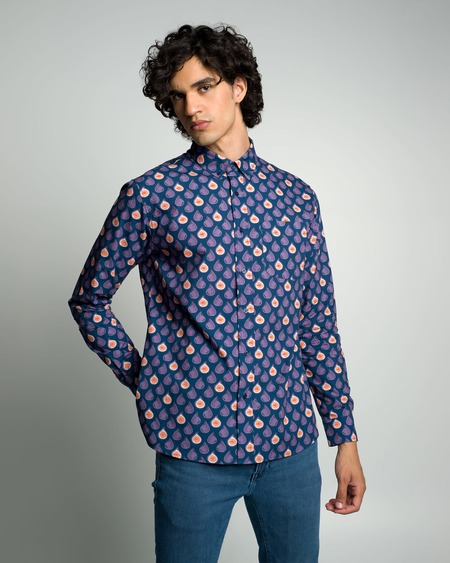 Poplin & Co. Casual Button Down Long Sleeve Shirt - Abstract Figs