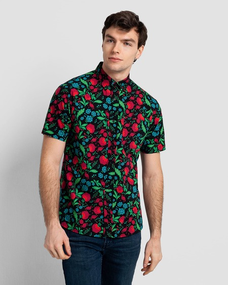 Poplin & Co. Casual Button Down Short Sleeve Shirt - Garden Botanical