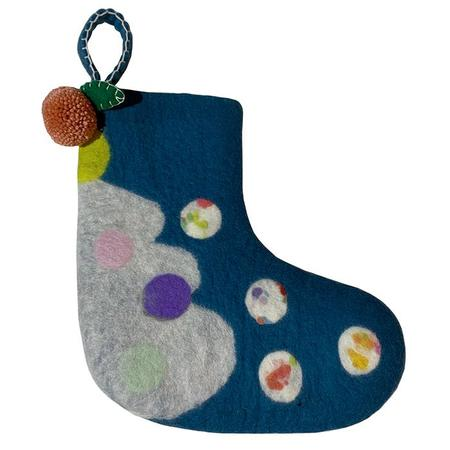 Midos Tail Hand Felted Christmas Stocking Small With Pink Pompoms - Blue
