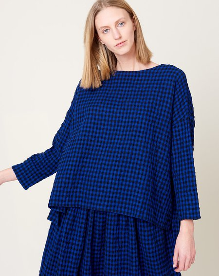 ICHI ANTIQUITES Cotton Wool Gingham Pullover - Royal Blue