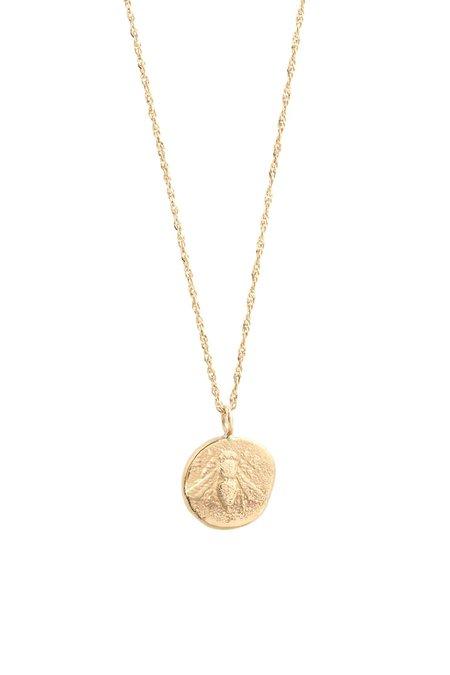 Eikosi Dyo Icon Bee Medal Necklace - 14K Yellow Gold
