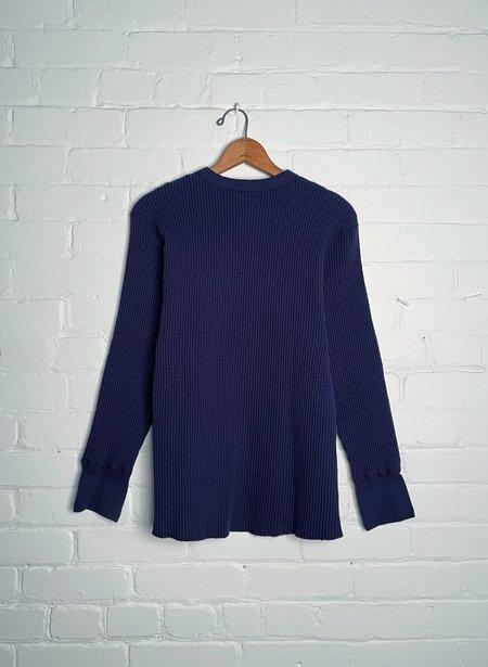Homespun Knitwear Crew Thermal sweater - Indigo