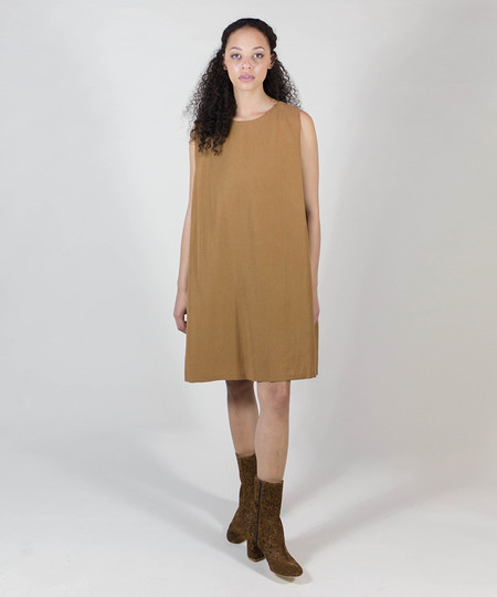 Kaarem Copper Clouds Side Pleated Dress