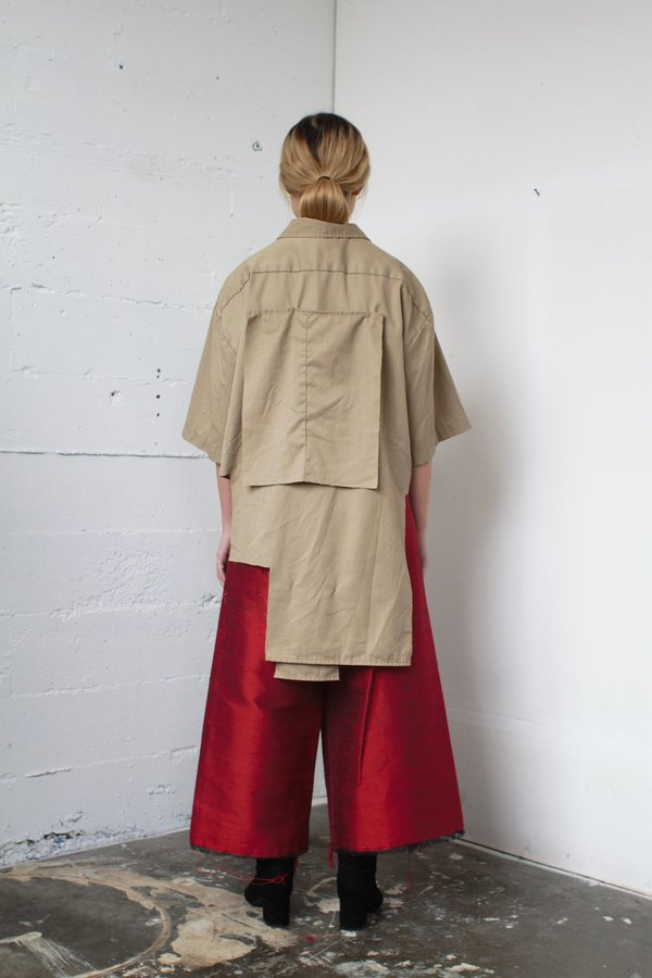 Alexa Stark red silk wrap pants