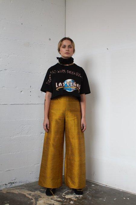 Alexa Stark gold silk pants
