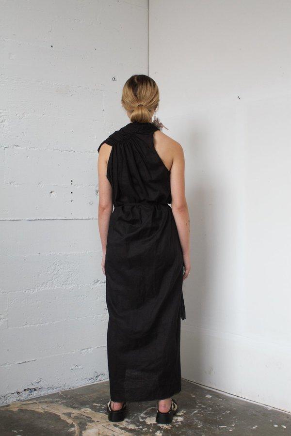 Alexa Stark gathered linen wrap dress