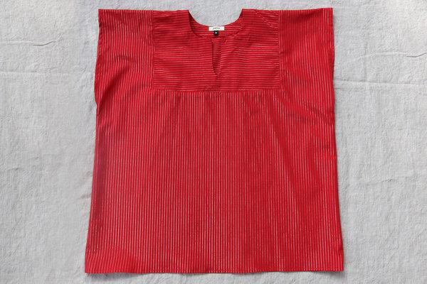 pietsie Sayulita Shirt in Red with Tiny Silver Stripe