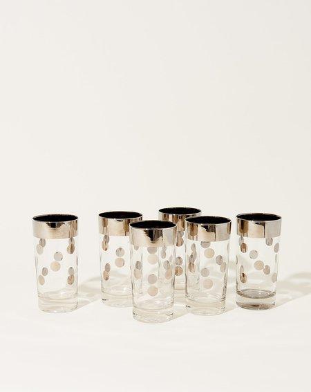 Vintage Set of Silver Dot High Ball Glasses