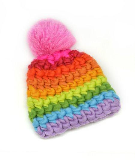 Kids Mischa Lampert store XL pom bright stripe beanie - Magenta/Rainbow