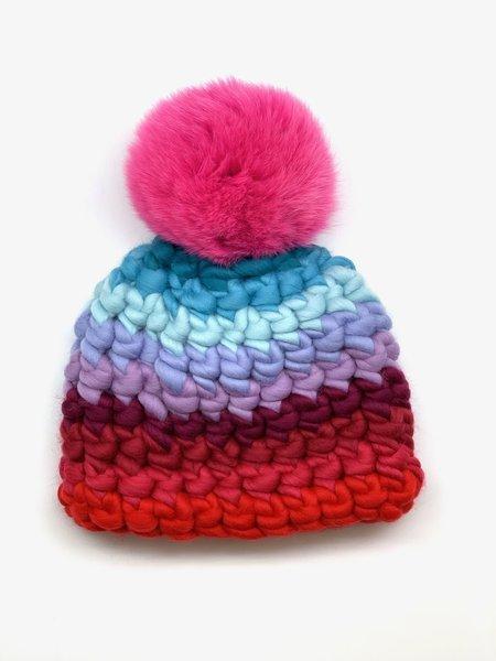 Kids Mischa Lampert  pom lava stripe beanie - magenta/Pink