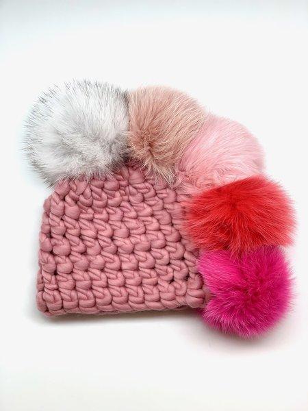 Kids Mischa Lampert XL poms pohawk princess beanies - Pink/red/Silver