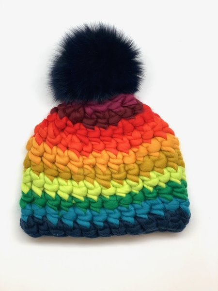 Mischa Lampert XL pom stripe beanie - Black/rainbow