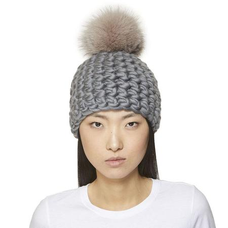 Mischa Lampert XL pom pomster beanie - Taupe Silver