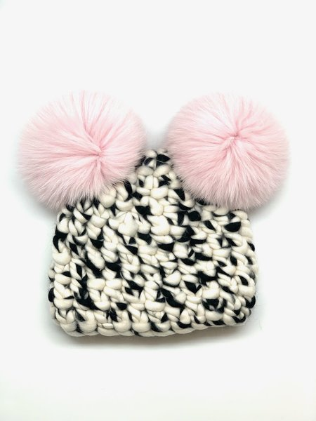 Kids Mischa Lampert XL poms blend mickey beanies - white/black/baby pink