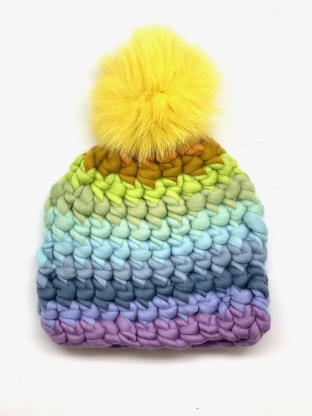 Kids Mischa Lampert XL pom and stripe beanie - Yellow/Purple