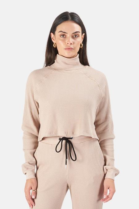 The Range Waffle Knit Crop Turtleneck Sweater - Saddle