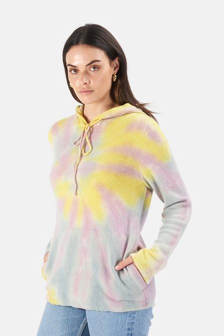Harden Swirl TIe Dye Hoodie Sweater - Lilac/Blue/Yellow